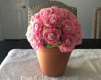 Pink flower pot etsy pink flower pot dum dum sucker bouquet mightylinksfo