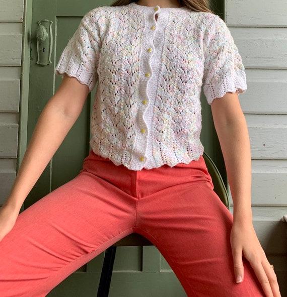 Vintage crochet cotton short sleeve cardigan top w
