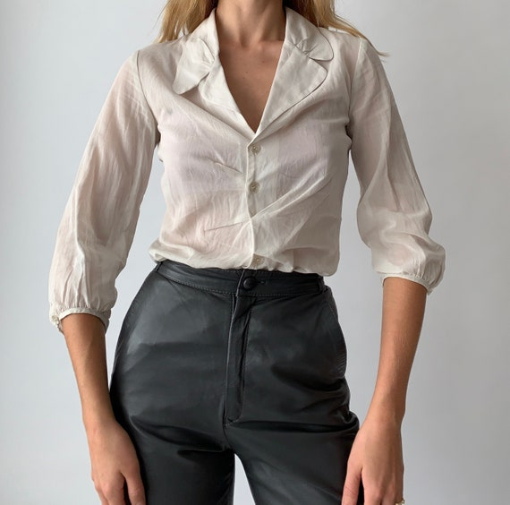 Vintage y2k sheer stone button up asymmetrical blo