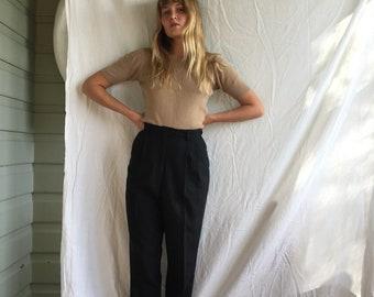 Vintage Fletcher Jones black high waisted pleated trousers size Aus 12-14