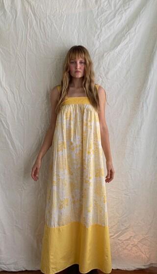 Vintage hand sewn cotton yellow and white sun dress maxi  womens AU 6-8 (xs-small)