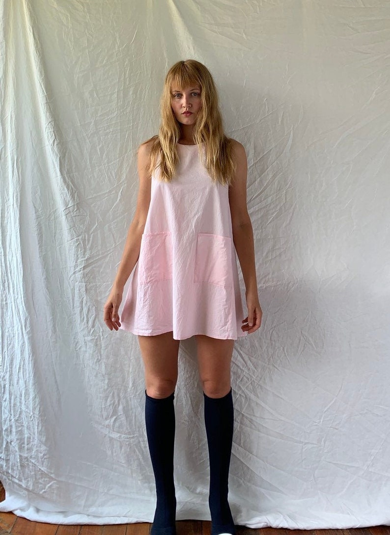 Vintage baby pink cotton pastel tent mini dress with pockets  women\u2019s AU 6-8 xs-small