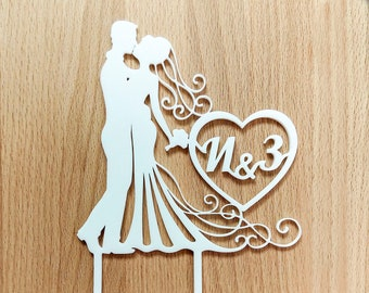 Cake topper for wedding, personalized cake topper, initial letters cake topper, heart cake topper, wedding cake topper, cake topper