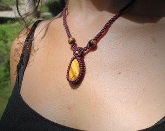 Purple Tiger eye macrame necklace