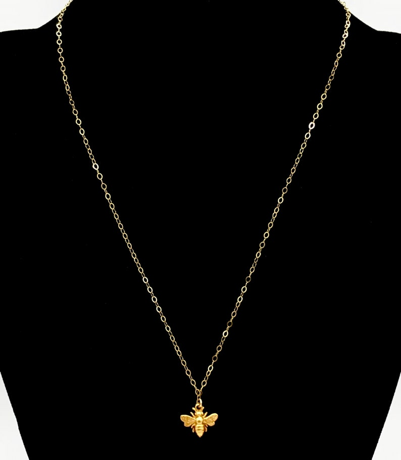 Gift for Her Princess Choker Necklace Elegant Gold Filled Jewelry Minimalist Jewelry Dainty Gold Bee Necklace Layering Necklaces