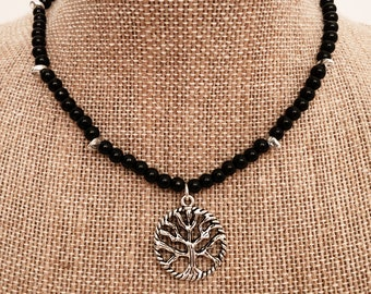 Black Beaded Choker with Tree of Life Pendant