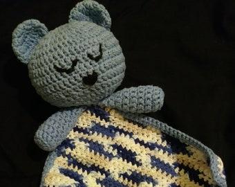 Crocheted Teddy Bear LOVEY Security Blanket Snuggle Blankie Blue ... | 270x340
