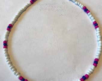 White,Pink,and Blue Seed Bead Choker