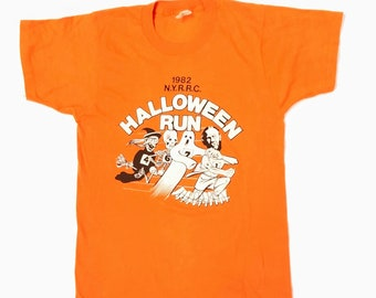 0e26cd8c 1982 Mens New York Road Runners Club Halloween Run Participant Graphic  Front T Shirt Central Park by Screen Stars