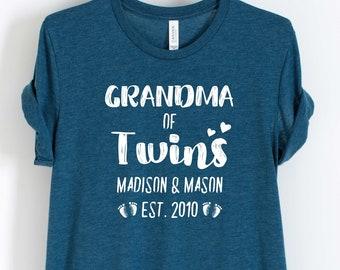 baa073a7f Unisex Personalized Grandma of Twins Shirt - Custom Grandma of Twins Shirt  - Gift