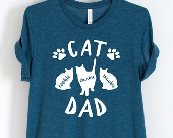 60e4acedb Unisex Personalized Cat Dad Shirt - Custom Cat Shirt - Gift