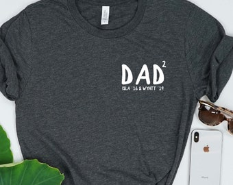 781b6677 Personalized Dad of 2 Shirt
