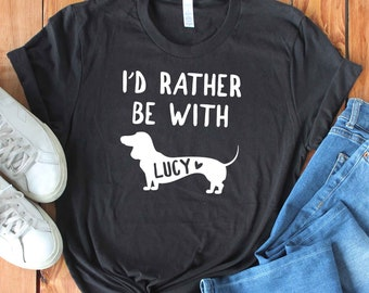 2f32da48c1 Personalized Dachshund Shirt - Custom Doxie Shirt with Your Dog's Name -  Dachshund Gift