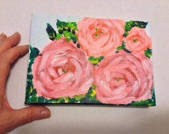 "Flower painting, original art, ""wildflower""  5x7  mini art on canvas"