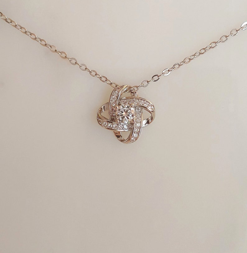 Knot Necklace Friends Jewelry Family Knot Cousins Bond Gift Cousins Necklace Zirconia BFF Birthday Gift 925 Sterling Silver