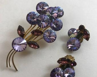 Vintage Austria Rhinestone Demi Parure Brooch Clip-On Earrings