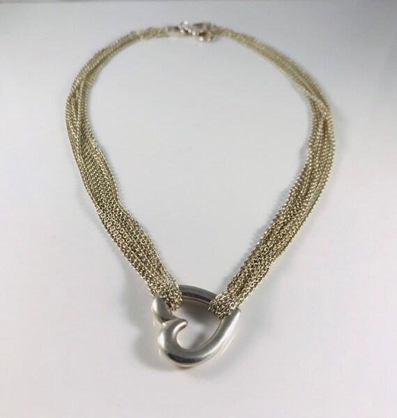Sterling Multi Chain Open Heart Necklace
