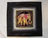 Vintage Burmese KALAGA Pillow cover or Wall Hanging Elephant Collectible Ornate, Decorative