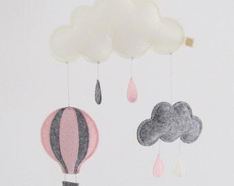 hot air balloon mobile, felt baby mobile, cloud mobile, air balloon mobile, felt