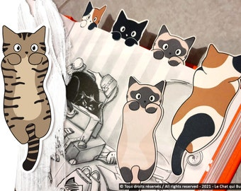 Classic cat bookmarks, recycled cardboard