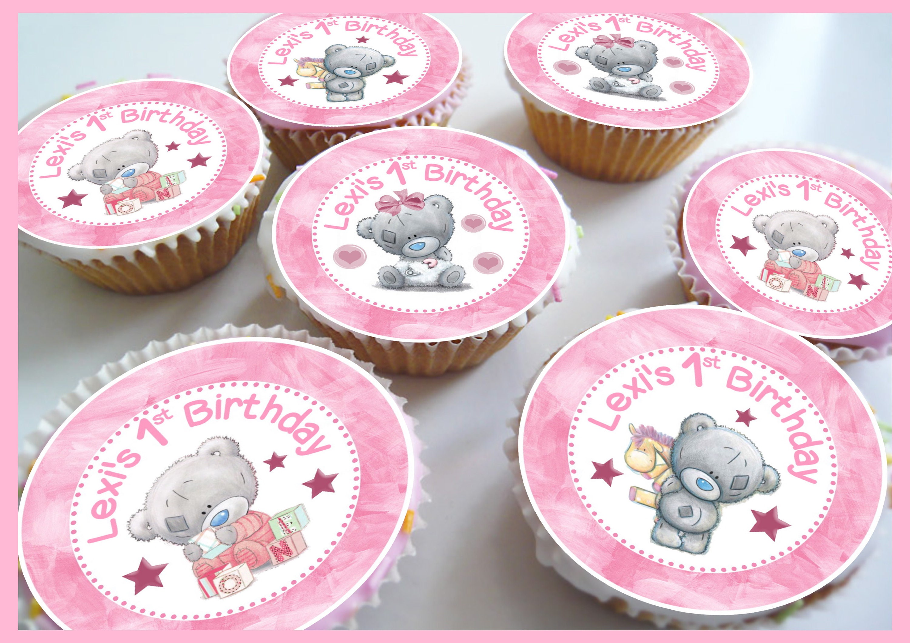 CUTE PINK PIG PERSONALISED EDIBLE ICING BIRTHDAY CAKE TOPPER /& 8 CUPCAKES