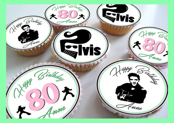 I Love Elvis Presley 24 Edible Cupcake Toppers Cake Decorations Precut Circles