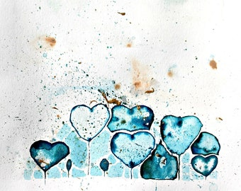 Sinking Hearts / Original / Watercolour / Gold Acrylic / 25.5cm-19cm/ Rough-Edged Ivory / Smooth