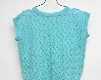 Vintage Handmade Knit Sweater Sweater Women Sweater Sweater Gift Girlfriend Wife Pastel Mint Blue Oversized Short Sleeve 80s 90s Hippie Trend