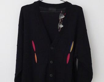 Vintage Designer CARLO COLUCCI Vest Jacket Sweater Cosby Men Cardigan Pattern Gift Trend Nerd Black Size M 52