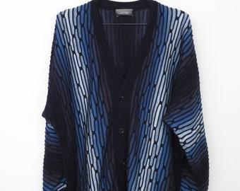 Vintage Designer Cardigan 80s CARLO COLUCCI Cosby Blue Vest Nerd Hippie Oversized Fashion Trend Gift Boyfriend Size 54/ L-XL