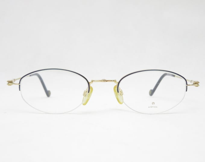 Halbrand Nylor glasses by AIGNER from the 90s, Made in Japan, eyewear frame for women, gift for her, eyewear frame, trend, gold