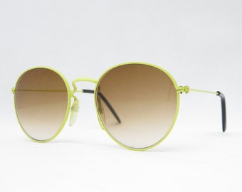 Vintage panto sunglasses from the 80s, yellow eyeglass frame with brown glasses, retro sunglasses for women, hipster glasses, 80s