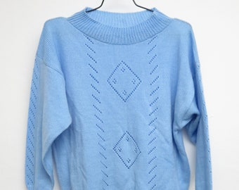 Handmade Vintage Knit Sweater Knitsweater Sweater 80s Hipster Hippie Shirt Long Sleeve Oversized Blue Gift For Her Size 38/Meter