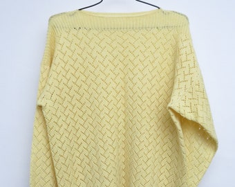 Vintage Handmade Sweater Knitted Sweater 80s Gift for You Women Sweater Oversized Yellow Beige Hippie Trend Long Sleeve