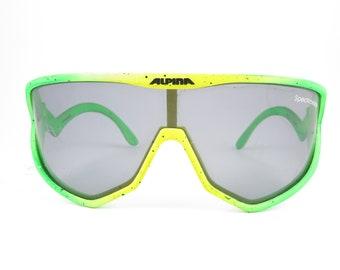 Vintage Glasses ALPINA DOGLEG 80s Eyeglass Frame Glasses Spectravision Green Yellow Vintage Rarity Ski Goggles Sport Goggles Oldschool Trend