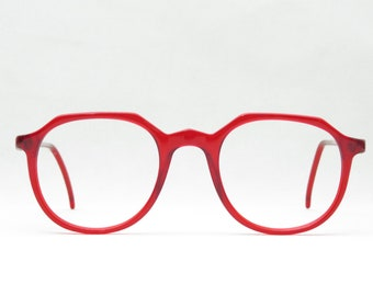 Vintage Glasses for by Lozza, Italy, Birthday Gift for Boyfriend & Girlfriend, 80s Panto Eyewear Frame Transparent XL NEW Nos, Red