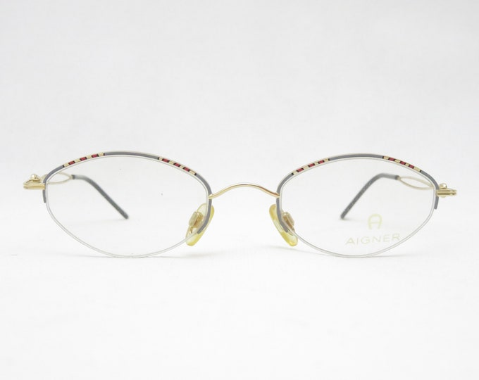 Halbrand Nylor glasses by AIGNER, eyewear frame from the 90s, Made in Germany, gift for women, fashion accessory, trend, gold