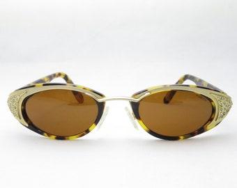 Neostyle HOL 2005 / Vintage Sunglasses with Gemstones / Designer Eyewear Frame 90s / Gold Brown / Festival Glasses / Trend