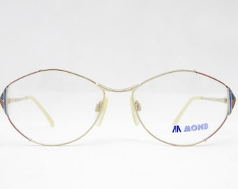 MONB mod. 15-8609 vintage glasses from the 80s for women, glasses frame in gold, blue and pink, gift for women, frames