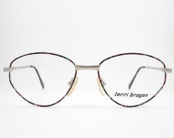 Vintage Glasses TERRI BROGAN 8980 90s Eyeglasses Frame Women's Glasses Eyeglasses Holder Silver Colorful Oval Glasses Gift For You HipsterTrend