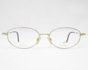 Vintage glasses AIGNER mod. 489 18kt gold plated, eyeglass frame from the 90s, eyewear frame, gift for her, metal frame, trend