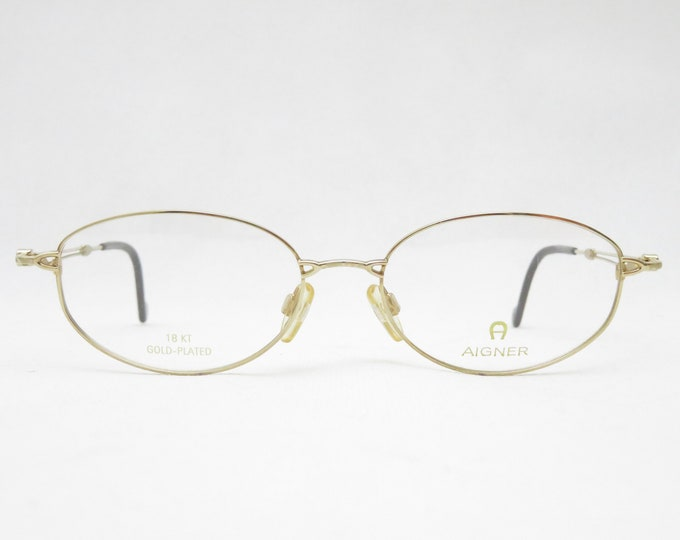 Vintage glasses AIGNER mod. 489 18kt gold plated, eyeglass frame from the 90s, eyewear frame, gift for her, metal frame, trend