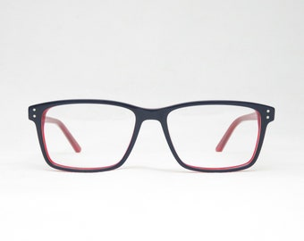 Blue and bright red plastic glasses for men and women, gift for her, glide glasses, sunglasses, retro 70s 80s, trend
