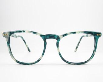 Vintage Glasses LE CLUB ACTIF 1603 Wayfarer Eyeglass Frame Women Unisex Eyeglass Mount Women's Men's Accessory Green White Plastic Holder