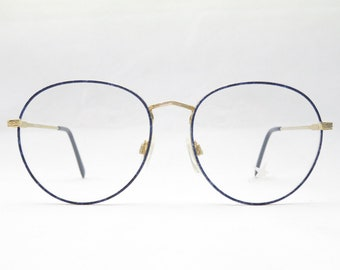 0e0f60ef7 266 / Vintage Panto Glasses / Women's Eyewear Frame / 80s Accessory / Gold  Blue / Oversized / Festival Glasses / Trend