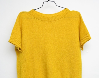 Vintage Handmade Knit Sweater Knit Sweater 80s Shirt Yellow Gift For Her Hipster Hippie Trend Oversized Fashion Fashion