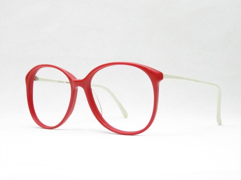 Original Vintage Eyeglass Frame from the 80s in Red and White Plastic, Vintage Eyeglasses, Vintage Eyewear Frame, Trend, NOS, Large