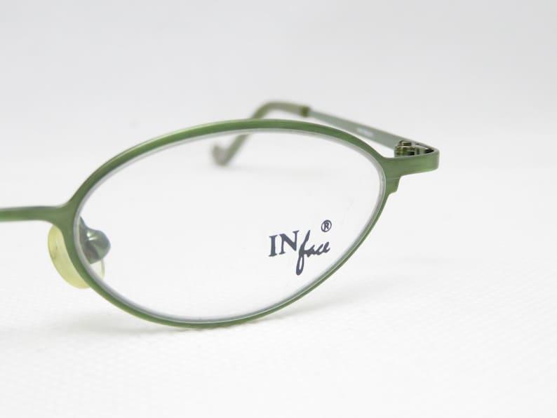 IN FACE Danish Design Kids Glasses, Girls Eyeglass Frame, Gift for Kids, Vintage Glasses, Oval, Green, with Sun Clip