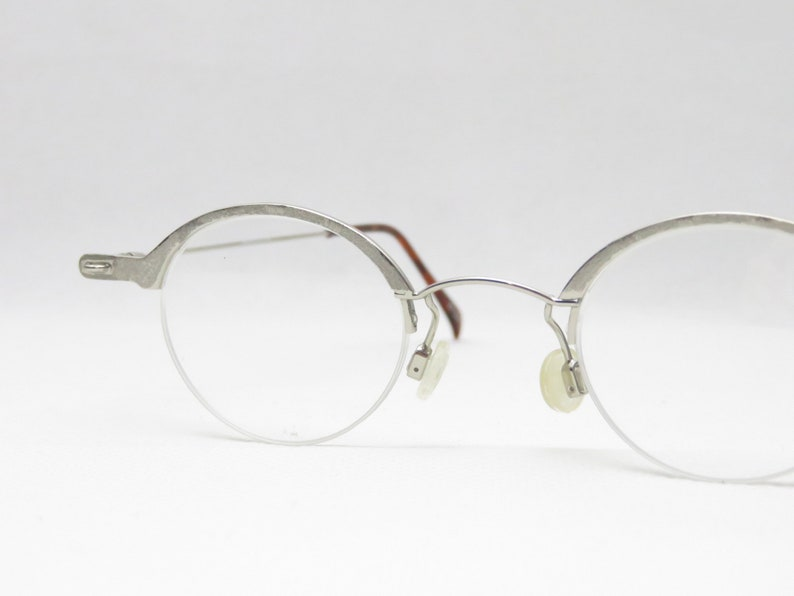 Vintage glasses for ladies by Domino, birthday gift for wife & girlfriend, 80s, round, eyeglass frame silver, small, new, nos, 90s