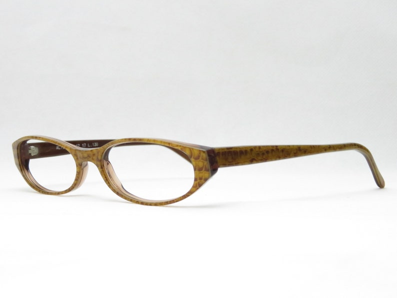 Vintage Reading Glasses / 90s Eyewear Frame / Small Slim Glasses for Women / Brown Patterned / Fashion Accessory / Business Glasses/Trend